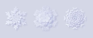 Origami snowflakes. 3D snowflakes with a shadow for your design of greeting cards for New Year and Christmas. 3D snowflakes with a shadow for your design of stock illustration