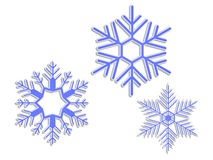 3D snowflakes Stock Images