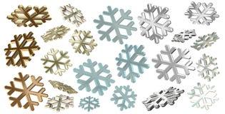 3d snowflakes on white. Set of colorful 3d render snowflakes on white background Royalty Free Stock Photos