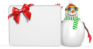 3d snowman with big blank banner and red bow. On white background Royalty Free Stock Photography