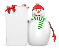 3d snowman with big blank banner and red bow. On white background Stock Images