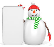 3d snowman with big blank banner. On white background Stock Photos