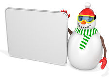 3d snowman with big blank banner Stock Photo