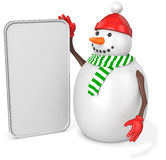 3d snowman with big blank banner. On white background Stock Photography