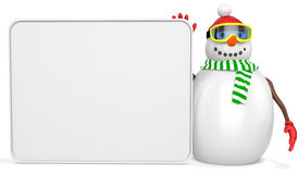 3d snowman with big blank banner. On white background Stock Images