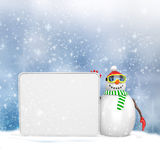 3d snowman with big blank banner Stock Photos