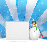 3d snowman with big blank banner Royalty Free Stock Photo
