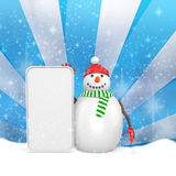 3d snowman with big blank banner Royalty Free Stock Image