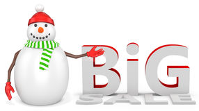 3d snowman with  bitcoin. 3d snowman with  big sale  on white background Royalty Free Stock Photos