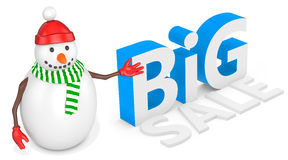3d snowman with  bitcoin Stock Photography