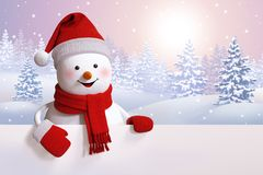 3d snowman, cartoon character, Christmas background, winter fore Stock Photo