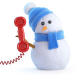 3d Snowman chatting on the phone Stock Photography