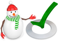 3d snowman with check mark Stock Image
