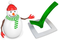 3d snowman with check mark Royalty Free Stock Images