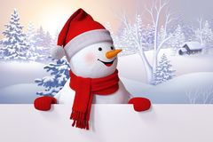 3d snowman, Christmas greeting card, winter background, forest,. Countryside landscape, blank banner, white page, copy space Stock Photo
