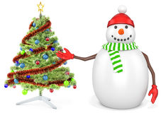 3d snowman with a christmas tree. On white background Stock Photography