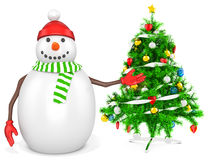 3d snowman with a christmas tree. On white background Royalty Free Stock Photography