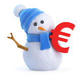 3d Snowman with a Euro currency symbol. 3d render of a snowman with a Euro currency symbol Royalty Free Stock Photo