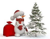 3d snowman with a fir-tree Royalty Free Stock Photography