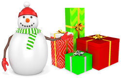3d snowman with gift boxes. On white background Royalty Free Stock Image