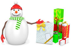 3d snowman with gift boxes. On white background Stock Photo
