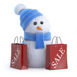 3d Snowman has been to the sales Stock Photos