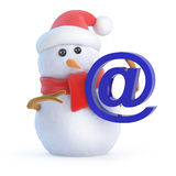 3d Snowman has an email address Royalty Free Stock Photo