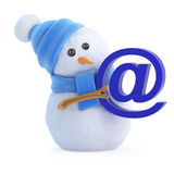 3d Snowman has an email address Stock Photography