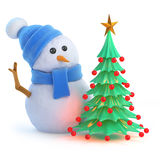 3d Snowman has a nice Christmas tree. 3d render of a snowman in a blue scarf and hat with a Christmas tree Stock Image