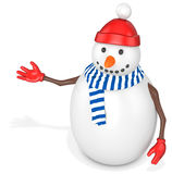 3d snowman with hat and scarf. On white background Stock Photos