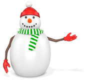 3d snowman with hat and scarf. On white background Stock Photography
