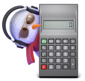 3d Snowman in headphones peeps round calculator Royalty Free Stock Images