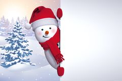 3d snowman, hiding behind the wall, holding blank page, Christma. S card template, winter landscape, holiday background Stock Photo