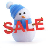3d Snowman holds a Sale Stock Images