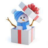 3d Snowman jumps out of the gift box Royalty Free Stock Photos