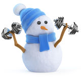 3d Snowman lifting weights Royalty Free Stock Photos