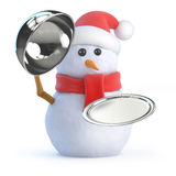 3d Snowman offers silver service Stock Photos