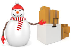 3d snowman with parcel boxes. On white background Royalty Free Stock Photography