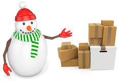3d snowman with parcel boxes. On white background Stock Photo