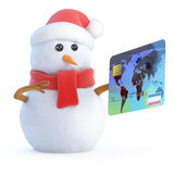 3d Snowman pays his bill Stock Photos