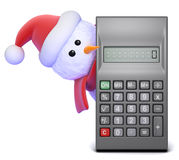 3d Snowman peeps round a calculator Royalty Free Stock Images