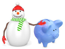 3d snowman with a piggy bank. On white background Stock Images