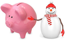 3d snowman with a piggy bank. On white background Stock Photography
