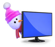 3d Snowman in pink wool hat peeps round a television Royalty Free Stock Photography