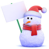 3d Snowman with a placard Stock Photography