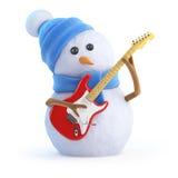 3d Snowman plays electric guitar Royalty Free Stock Photos