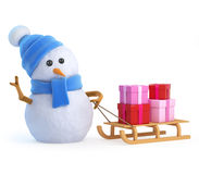 3d Snowman pulls a sleigh full of presents and gifts Royalty Free Stock Photos