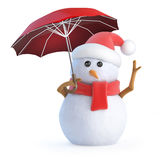 3d Snowman puts his umbrella up Royalty Free Stock Photos