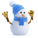 3d Snowman rings his bells Stock Image