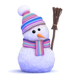 3d Snowman in scarf with broom Stock Images